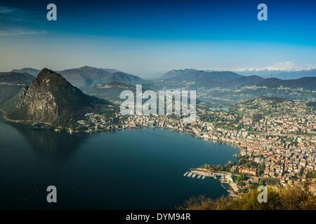 Panoramic view, Monte Brè, Lugano, Lake Lugano, Lago di Lugano, Canton Ticino, Switzerland - Stock Photo