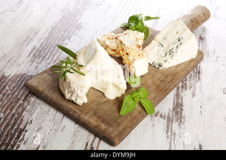 Delicious rustic style cheese still life. Various cheese sorts with fresh herbs on old wooden cutting board on white - Stock Photo
