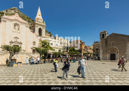 San Giuseppe Church & Piazza 9 April on Corso Umberto in this popular NE tourist town; Taormina, Catania Province, - Stock Photo