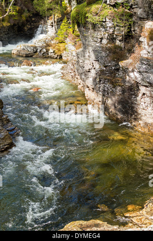 GREEN SNOW MELT WATER IN A ROCKY GORGE  OF THE LUI RIVER NEAR BRAEMAR SCOTLAND - Stock Photo