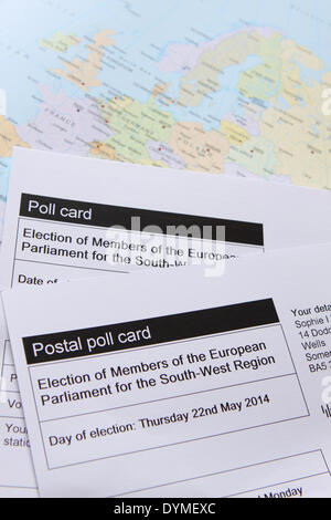 22nd April 2014. Poll Cards and Postal voting card for voting in the European Parliament MEP elections on May 22nd - Stock Photo