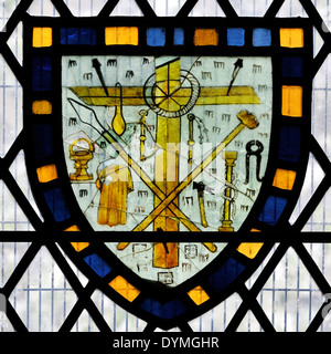 14th century stained glass window depicting the Instruments of the Passion, Church of All Saints Pavement, City - Stock Photo