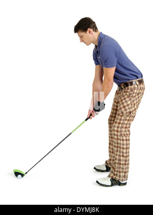 Photo of a male golfer in his late twenties about to swing his driver. - Stock Photo
