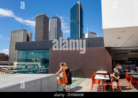 Australia, NSW, New South Wales, Sydney, West Circular Quay, Museum of Contemporary Art, MCA, rooftop, cafe, restaurant - Stock Photo