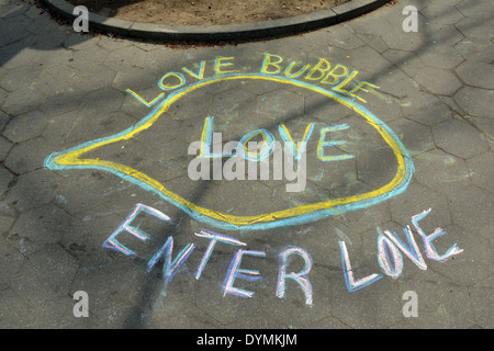 Street art by MAZE KING in Washington Square Park in Greenwich Village, New York City. - Stock Photo