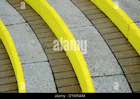 yellow painted steps England uk - Stock Photo
