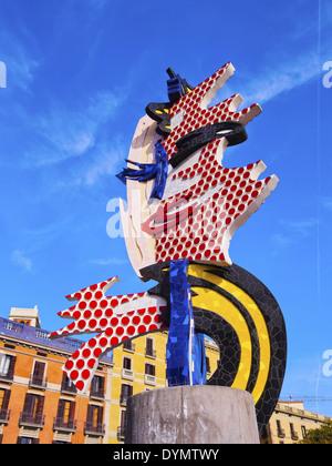 El Cap de Barcelona - a surrealist sculpture created by American Pop artist Roy Lichtenstein for the 1992 Summer - Stock Photo