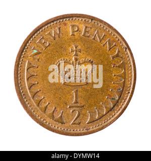 British decimal half new penny coin 1971 - Stock Photo