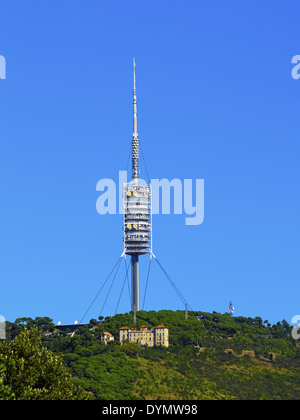 Torre de Collserola - broadcasting tower on Tibidabo Mountain in Barcelona, Catalonia, Spain - Stock Photo