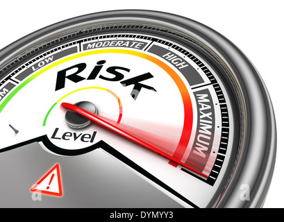 risk level conceptual meter, isolated on white background - Stock Photo