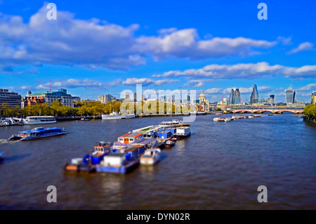 The City of London skyline showing the River Thames, as seen from Waterloo Bridge, London, England, United Kingdom - Stock Photo