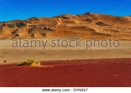 Three bands of various sand colours occur in close proximity of each other in a part of the Namib desert of Namibia. - Stock Photo