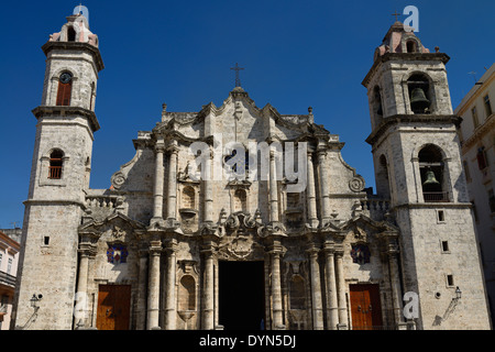 Front of the Havana Virgin Mary of the Immaculate Conception Roman Catholic Cathedral with clock and bell towers - Stock Photo