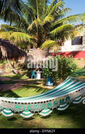 hammock in sun resort Big Corn Island Nicaragua Central America - Stock Photo
