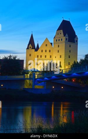 Neues Schloss castle, Danube river, Ingolstadt, Upper Bavaria, Bavaria, Germany, Europe, - Stock Photo