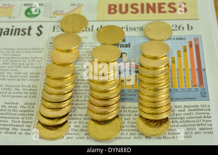 coins on news paper