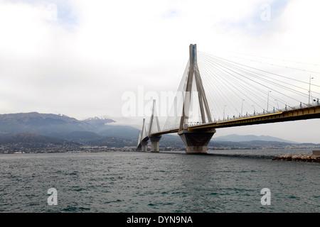 greece gulf of corinth patras the bridge from rio to antirrio - Stock Photo