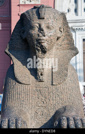 Egyptian Museum of Cairo.A sphinx of Pharaoh Tuthmosis III (Men-Kheper-Ra in the courtyard. - Stock Photo