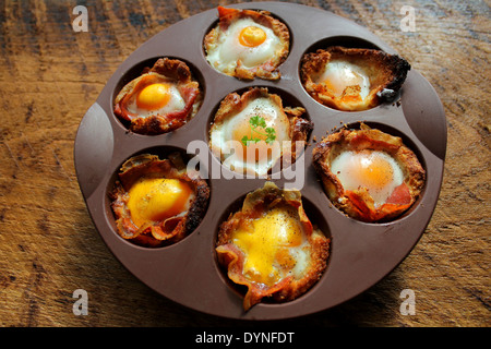 Breakfast - fried egg with bacon - Stock Photo