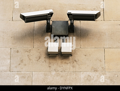 CCTV Security Cameras Mounted on a Wall, London, UK. - Stock Photo