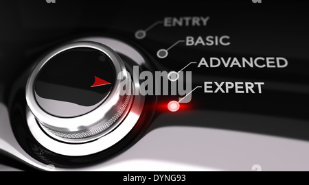 Switch button positioned on the word expert, black background and red light. - Stock Photo