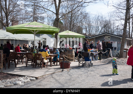 The outdoor cafe at Tallipiha in Tampere Finland - Stock Photo