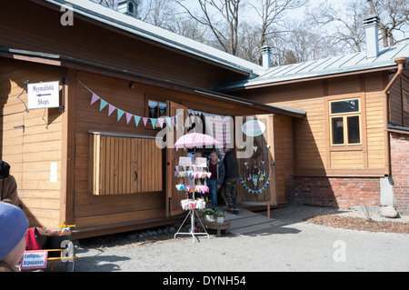 Easter handcraft market at the old stables in Tampere Finland - Stock Photo