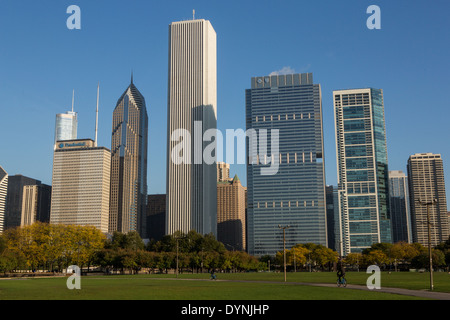 Skyline of downtown from Grant Park in Chicago, Illinois USA - Stock Photo