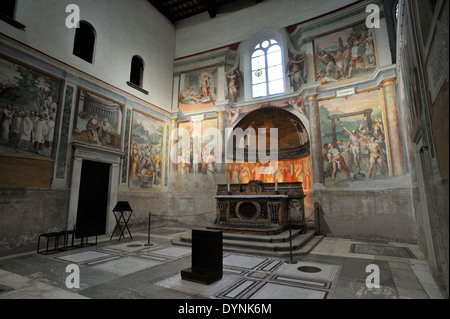italy, rome, celio, church of santo stefano rotondo, chapel of the Saints Primus and Felician, frescos by Antonio - Stock Photo