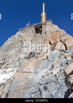 Summit of the Aiguille du Midi at 3842 meters high in the French Alps. - Stock Photo