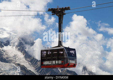 Cable Car to the summit of the Aiguille du Midi from Chamonix-Mont-Blanc, France. - Stock Photo