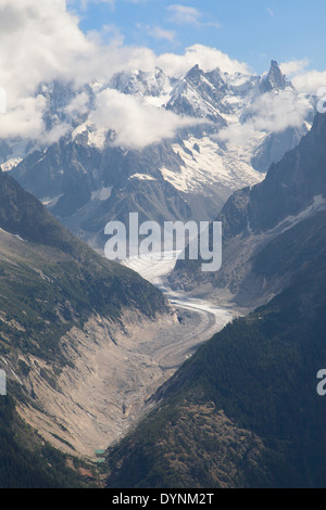 Mer de Glace and Dent du Geant from La Flegere, French Alps. - Stock Photo