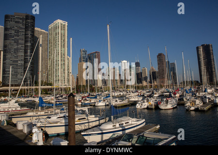Skyline of downtown from Lake Shore Marina DuSable Harbor in Chicago, Illinois USA - Stock Photo