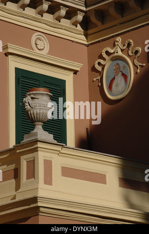 Italy. Castel Gandolfo. Building with the portrait of Pope John Paul II, born Karol Jozef Wojtyła, (1920-2005). - Stock Photo
