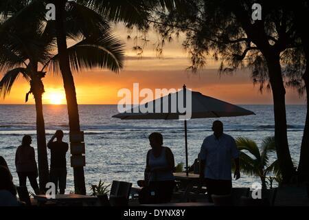 Rarotonga Island. Cook Island. Polynesia. South Pacific Ocean. Sunset on the beach in Hotel Crown Beach Resort & - Stock Photo