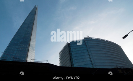 Low angle view of Shard skyscraper and The Place building London Bridge Quarter, London England UK  KATHY DEWITT - Stock Photo