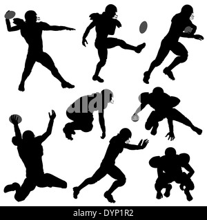 Set of Silhouettes of American Football Players in various Poses with the Ball, isolated on white background - Stock Photo