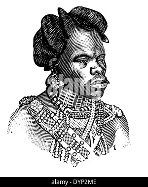 Zulu man in traditional dress, South Africa, illustration from Soviet encyclopedia, 1926