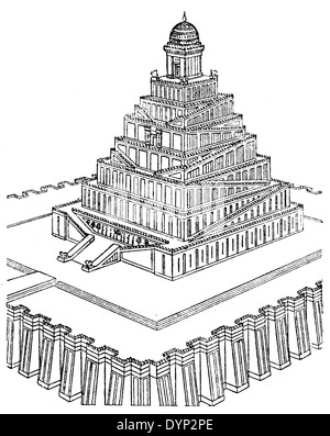 Babylon temple, illustration from Soviet encyclopedia, 1926 - Stock Photo