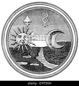 Alchemy symbols of sulphur and mercury, illustration from Soviet encyclopedia, 1926 - Stock Photo