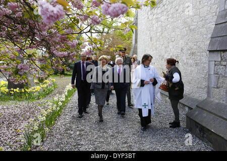 Dublin, Ireland. 23rd April 2014. The Irish President Michael D. Higgins (3rd left) and his wife Sabina Coyne (2nd - Stock Photo