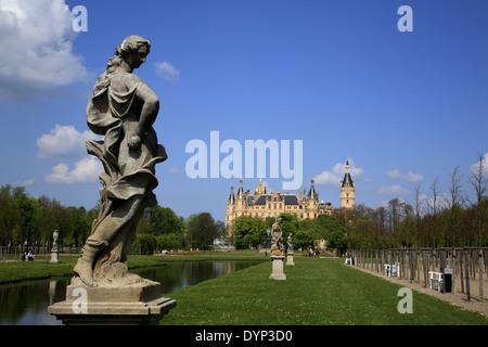 Schwerin Castle and Park, Mecklenburg Western Pomerania, Germany, Europe - Stock Photo