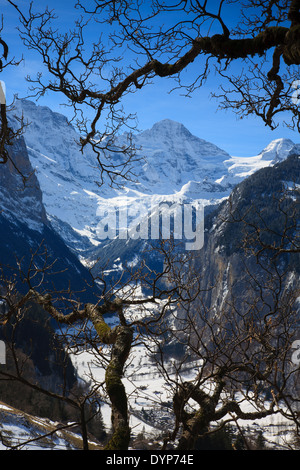 View from Wengen over a snow covered Lauterbrunnen Valley - Stock Photo