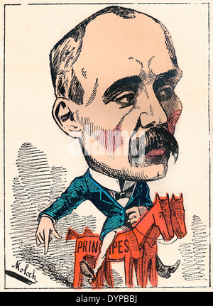Georges Benjamin Clemenceau, 1841-1929, a French statesman, Prime Minister of France, political caricature, 1882, - Stock Photo