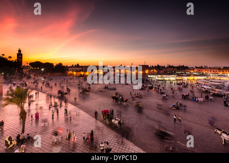 Evening at Jemaa el Fna square in Marrakech, Morocco, Africa - Stock Photo