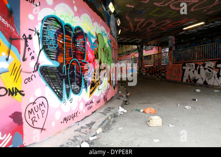 Graffiti on Leake Street, Waterloo, London, UK - Stock Photo