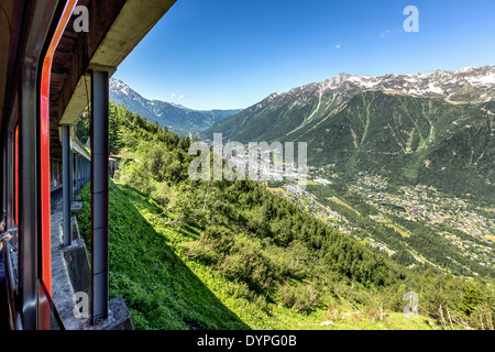 On the way to Mer de Glace glacier in a cog wheel train over looking Chamonix, France, EU - Stock Photo