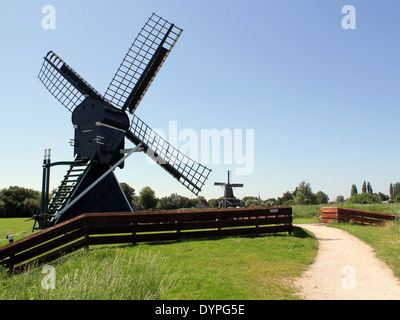 Two windmills near IJlst, Friesland, The Netherlands Stock Photo