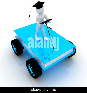 on race cars in the world of knowledge. The concept of rapid learning on a white background - Stock Photo