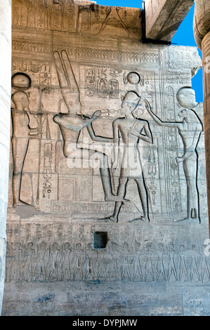 Ramesseum : the funeral temple of pharaoh Ramses II the Great(1303-1213 b.C. XIX dyn.). The King blessed by various - Stock Photo